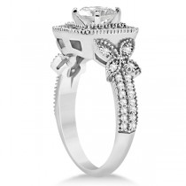 Butterfly Square Halo Diamond Engagement Ring 14k White Gold (0.34ct)|escape