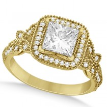 Butterfly Square Halo Diamond Engagement Ring 14k Yellow Gold (0.34ct)