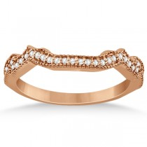 Contour Semi Eternity Diamond Wedding Band in 14k Rose Gold (0.17ct)