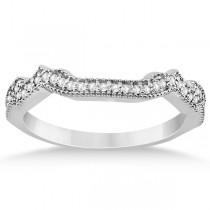 Contour Semi Eternity Diamond Wedding Band in 14k White Gold (0.17ct)