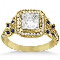 Butterfly Square Halo Sapphire Engagement Ring 14k Yellow Gold 0.34ct