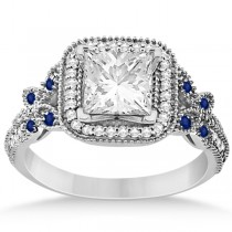 Butterfly Square Halo Sapphire Engagement Ring Palladium (0.34ct)