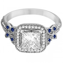 Butterfly Square Halo Sapphire Engagement Ring Platinum (0.34ct)