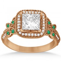 Emerald Square-Halo Butterfly Engagement Ring 14k Rose Gold (0.34ct)