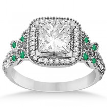 Emerald Square-Halo Butterfly Engagement Ring 14k White Gold (0.34ct)