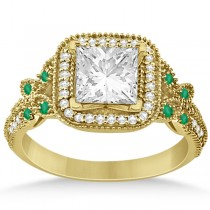 Emerald Square-Halo Butterfly Engagement Ring 14k Yellow Gold (0.34ct)