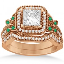 Emerald Square-Halo Milgrain Bridal Set 14k Rose Gold (0.51ct)