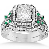 Emerald Square-Halo Milgrain Bridal Set 14k White Gold (0.51ct)