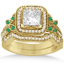 Emerald Square-Halo Milgrain Bridal Set 14k Yellow Gold (0.51ct)