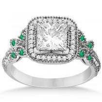 Emerald Square-Halo Milgrain Bridal Set Platinum (0.51ct)