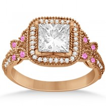 Pink Sapphire Accent Butterfly Engagement Ring 14k Rose Gold 0.34ct