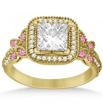 Pink Sapphire Accent Butterfly Engagement Ring 14k Yellow Gold 0.34ct