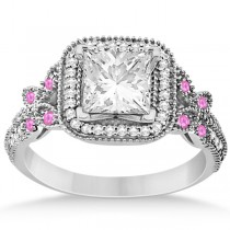 Pink Sapphire Accent Butterfly Engagement Ring Palladium 0.34ct