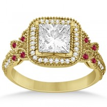 Butterfly Square Halo Ruby Engagement Ring 14k Yellow Gold 0.34ct