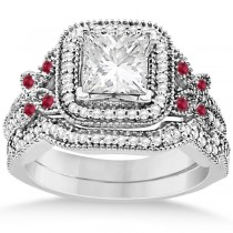 Ruby Square Halo Butterfly Bridal Set Palladium 0.51ct