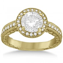 Filigree Carved Halo Diamond Engagement Ring 14k Yellow Gold (0.30ct)