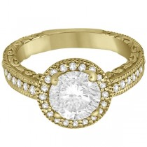 Filigree Carved Halo Diamond Engagement Ring 18k Yellow Gold (0.30ct)