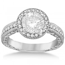 Filigree Carved Vintage Halo Diamond Engagement Ring Platinum (0.30ct)