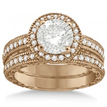 Filigree Halo Engagement Ring & Wedding Band 18kt Rose Gold (0.50ct.)