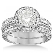 Filigree Halo Engagement Ring & Wedding Band 18kt White Gold (0.50ct.)