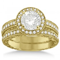 Filigree Halo Engagement Ring & Wedding Band 18kt Yellow Gold (0.50ct)