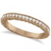 Milgrain & Filigree Diamond Wedding Band 18kt Rose Gold (0.20ct.)