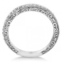 Milgrain & Filigree Diamond Wedding Band 18kt White Gold (0.20ct.)|escape