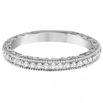 Milgrain & Filigree Diamond Wedding Band 18kt White Gold (0.20ct.)