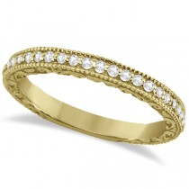 Milgrain & Filigree Diamond Wedding Band 18kt Yellow Gold (0.20ct.)