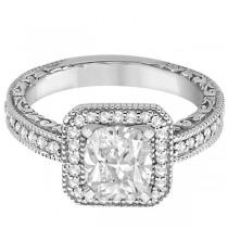 Milgrain Halo Princess Diamond Engagement Ring 14k White Gold (1.00ct)