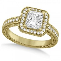 Milgrain Halo Princess Diamond Engagement Ring 14k Yellow Gold (1.00ct)