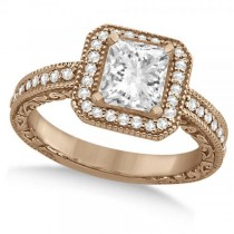 Milgrain Halo Princess Diamond Engagement Ring 18k Rose Gold (1.00ct)