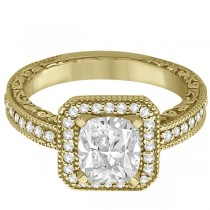 Milgrain Halo Princess Diamond Engagement Ring 18k Yellow Gold (1.00ct)