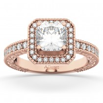 Milgrain Square Halo Diamond Engagement Ring 18kt Rose Gold (0.32ct.)