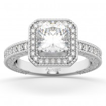 Milgrain Square Halo Diamond Engagement Ring 18kt White Gold (0.32ct.)