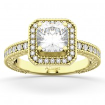 Milgrain Square Halo Diamond Engagement Ring 18kt Yellow Gold (0.32ct.)