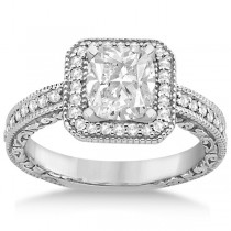 Milgrain Square Halo Diamond Engagement Ring Platinum (0.32ct.)