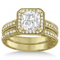 Square Halo Wedding Band & Engagement Ring 18kt Yellow Gold (0.52ct.)