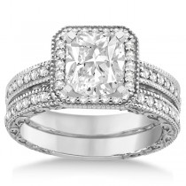 Square Halo Wedding Band & Diamond Engagement Ring Platinum (0.52ct.)