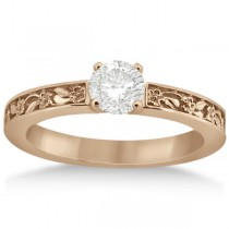 Flower Carved Solitaire Engagement Ring Setting 18kt Rose Gold