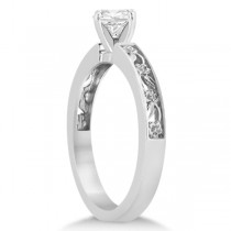 Flower Carved Solitaire Engagement Ring Setting Filigree Palladium