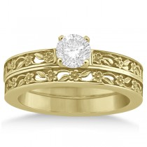 Flower Carved Solitaire Engagement Ring & Wedding Band 18k Yellow Gold