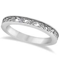 Flower Carved Wedding Ring Filigree Stackable Band 14kt White Gold