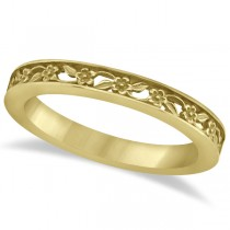Flower Carved Anniversary Ring Filigree Stackable Band 14k Yellow Gold