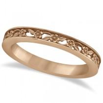 Flower Carved Wedding Ring Filigree Stackable Band 18k Rose Gold