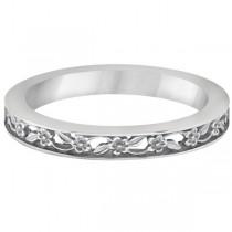 Flower Carved Wedding Ring Filigree Stackable Band 18kt White Gold