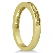 Flower Carved Wedding Ring Filigree Stackable Band 18k Yellow Gold