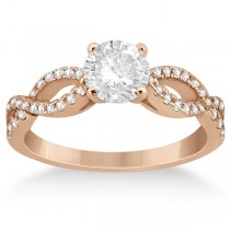 Diamond Twist Infinity Engagement Ring Setting 18k Rose Gold (0.40ct)
