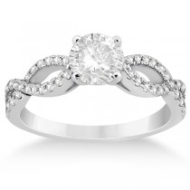 Diamond Twist Infinity Engagement Ring Setting 18k White Gold (0.40ct)