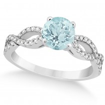 Diamond & Aquamarine Twist Infinity Engagement Ring 14k White Gold (1.40ct)